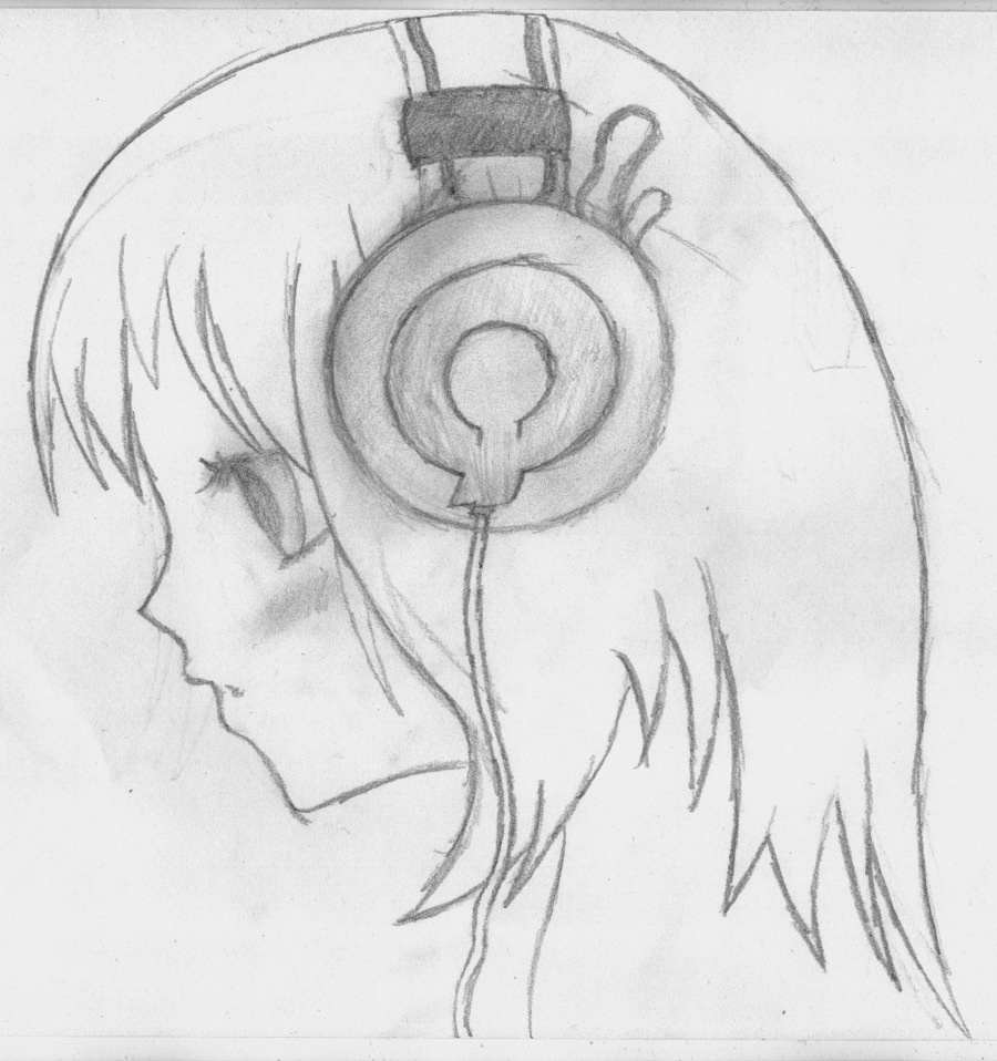 Related image Headphones drawing, Girl with headphones