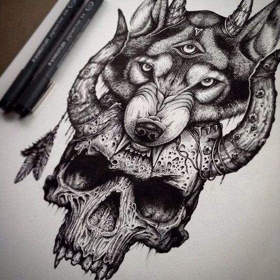 Skull Wolf Skull Tattoos Skull Tattoo Design Wolf Tattoos