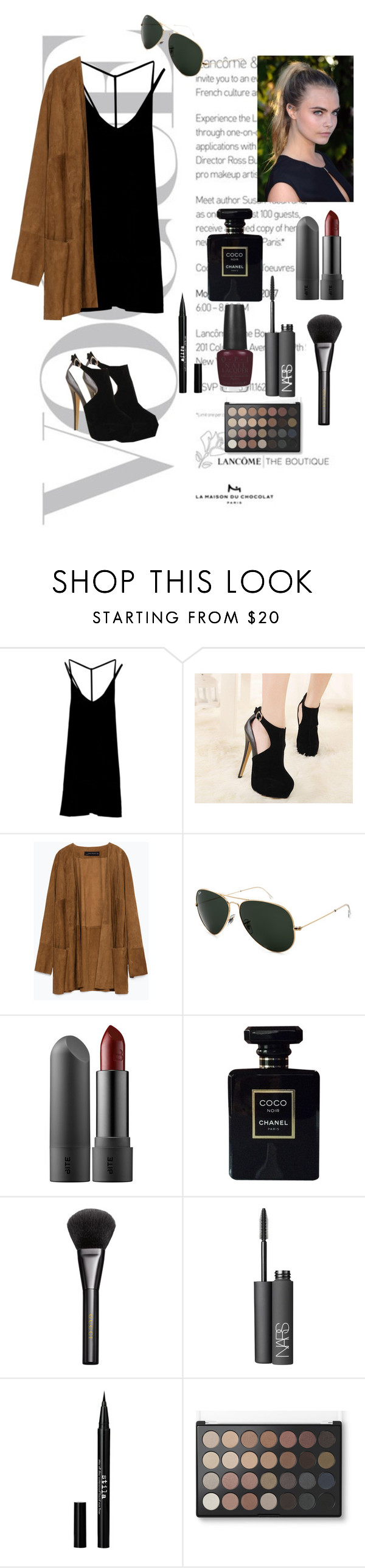 """""""Urban Chic"""" by cameronberlin ❤ liked on Polyvore featuring RVCA, Zara, Ray-Ban, Chanel, Gucci, NARS Cosmetics, Stila and OPI"""