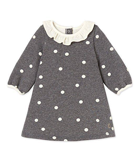 Petit Bateau Baby-Mädchen Kleid Robe ML, Mehrfarbig (Storm/Coquille ...