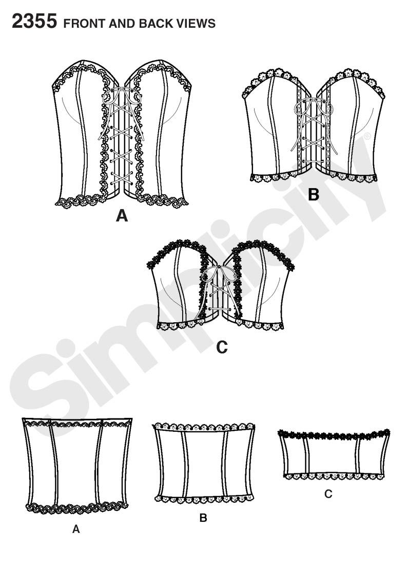 Womens corsets Sewing Pattern 2355 Simplicity | ILLUSTRATIONS ...