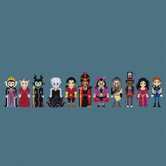 Disney Princess Villains Cross Stitch Pattern by pixelsinstitches
