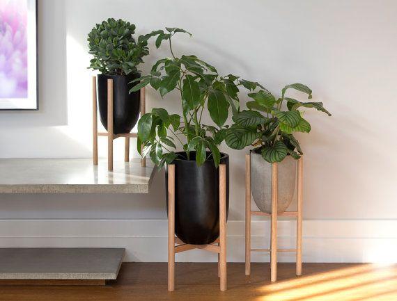 Medium Pot Planter With Timber Legs Luna Series Ecru Modern Flower Arrangements Modern Plant Stand Planter Pots