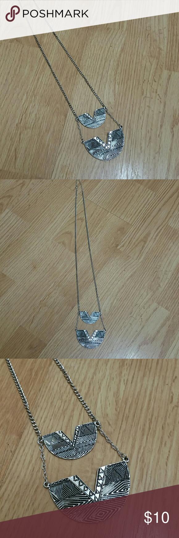 Stone u locket tribal etched necklace