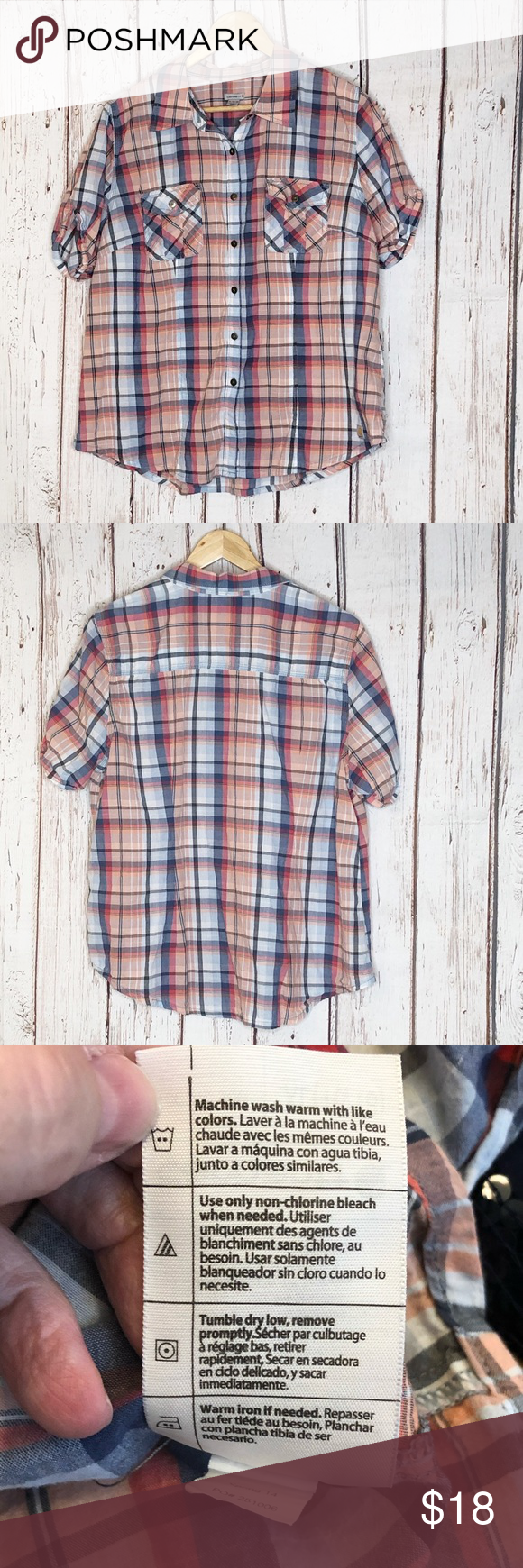 Carhartt Women's plaid button up shirt XL Carhartt Women's plaid button up shirt XL 16/18 Plaid Orange Short sleeve  Spring 2014 Cotton spandex blend  Machine wash warm tumble dry low  Measurements are approximates  Chest 48 length 27 6 Oz W1-8 Carhartt Tops Button Down Shirts #carharttwomen