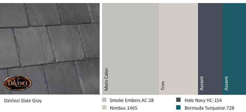 Best Exterior Color Scheme Slate Gray Davinci Slate Roof 400 x 300