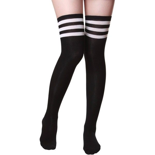 Haslra Women's Over the Knee High Socks 1 Pairs (Triple Stripe-Black)... ($11) ❤ liked on Polyvore featuring intimates, hosiery, socks, black high socks, long black socks, long striped socks, above knee socks and stripe socks