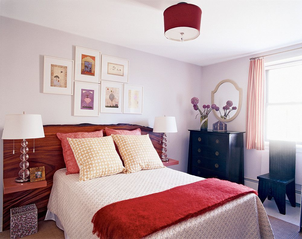 Bedroom With Russet Red Accents Pantone Chili Oil Orangish Red