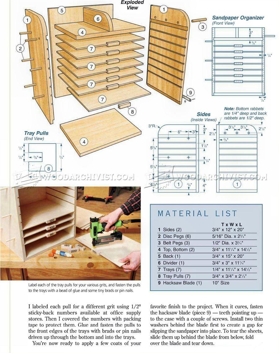 Sandpaper Organizer Plans Woodworking Workshop Plans Organization Planning How To Plan
