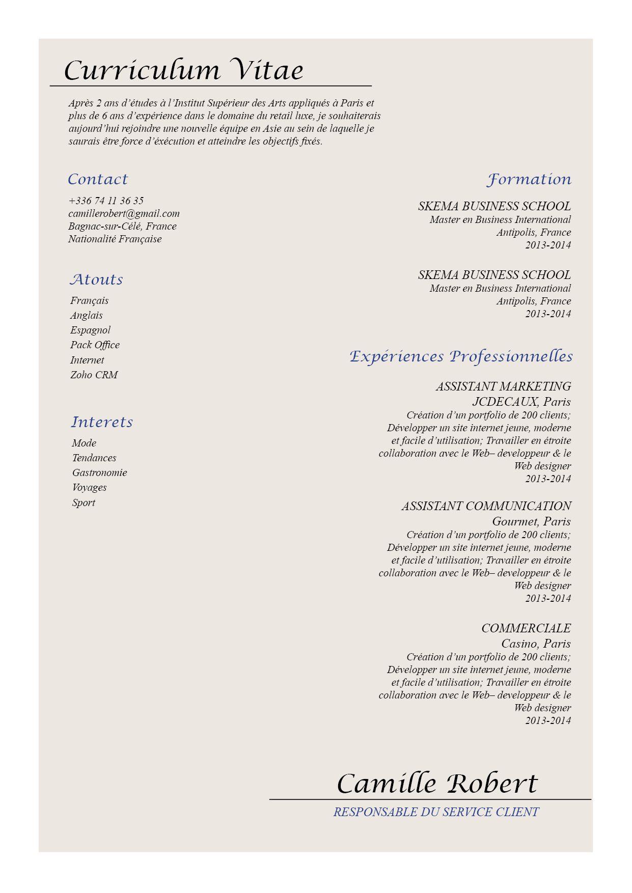 Attachant Un Cv Tout En Elegance Legerete Qui Rappelle Les Professions Dans L Hotellerie Exemple De Lettre De Motivation Modele De Cv Original Modele Cv