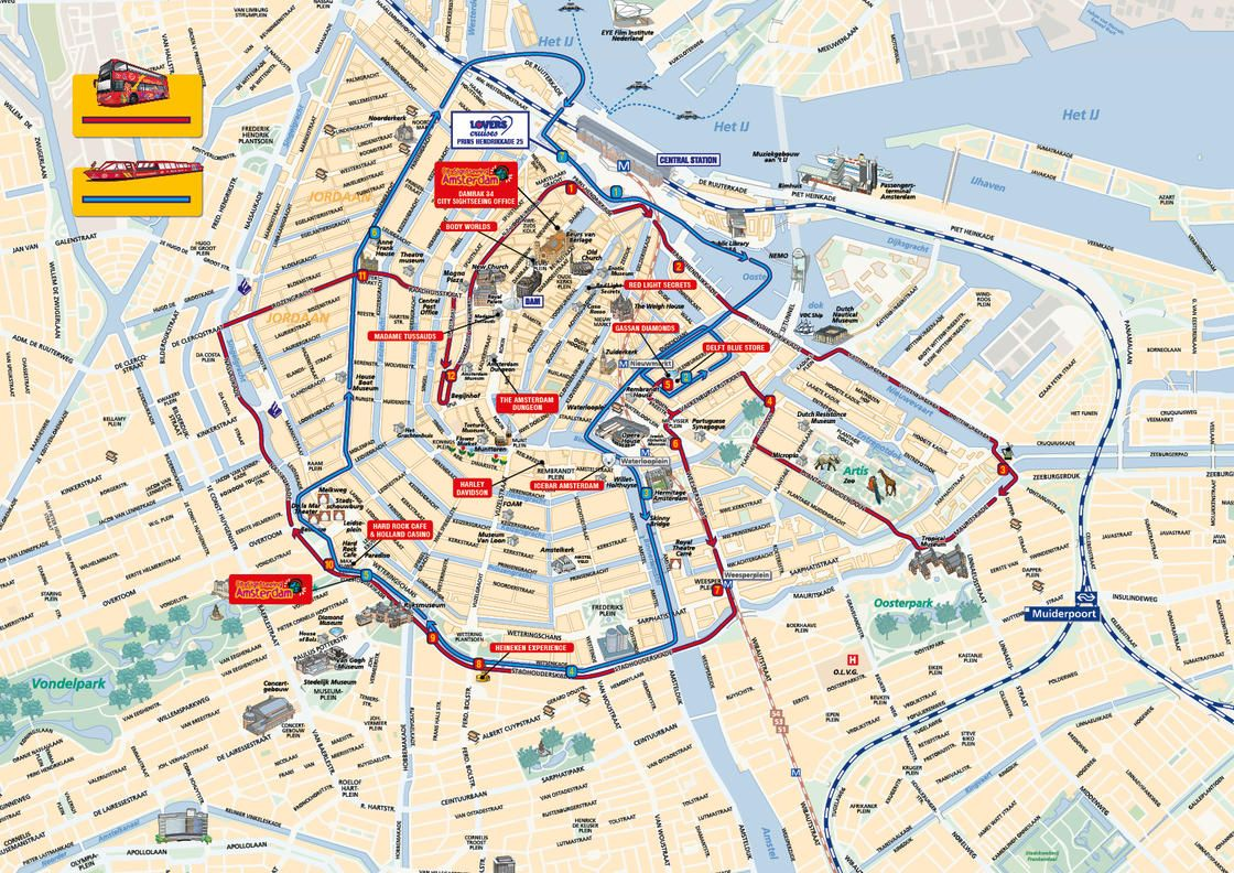 Mapa Turistico Amsterdam Pdf.Map Of Amsterdam Hop On Hop Off Bus Tour With City