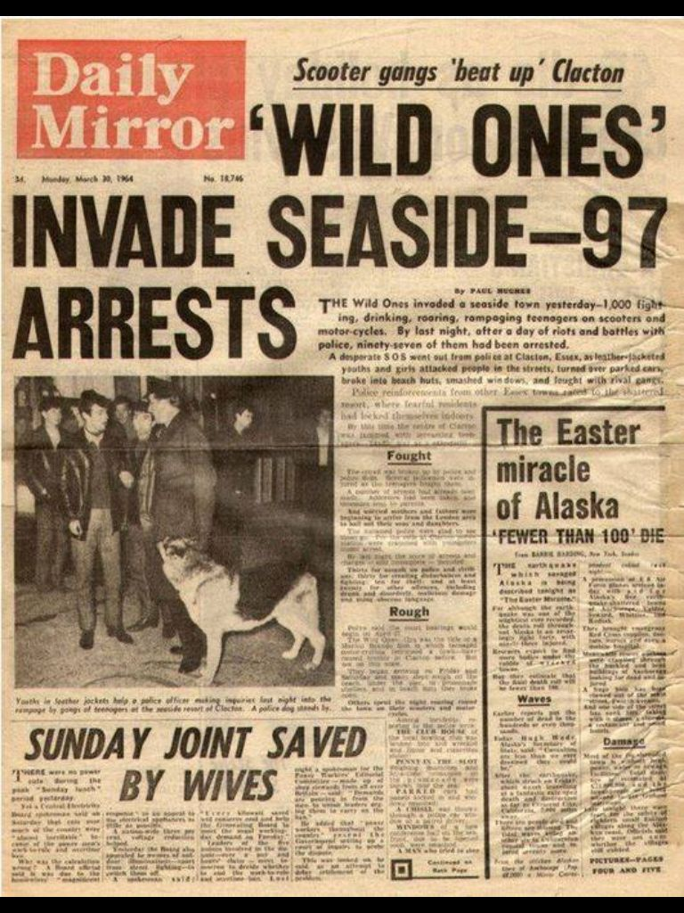 """""""The Wild Ones"""" mods vs rockers, The Daily Mirror, 30"""