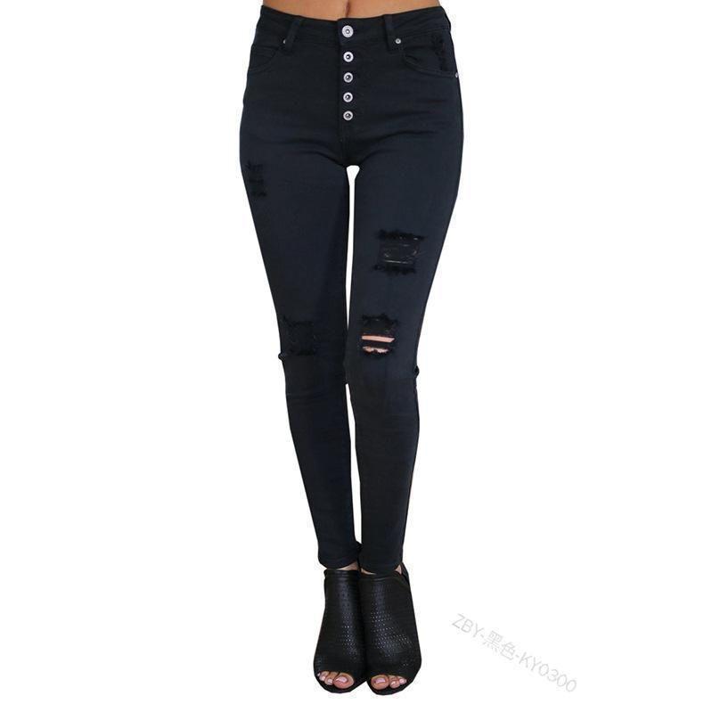 High waist buckle ladies jeans black slim stretch hole