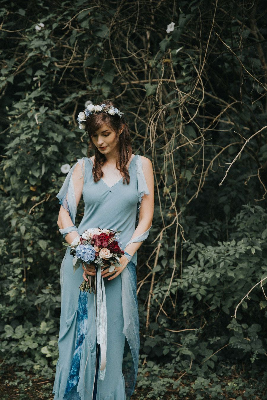 Alice in wonderland themed wedding dress  A Winter Themed Alice in Wonderland Bridal Shoot With Pale Blue