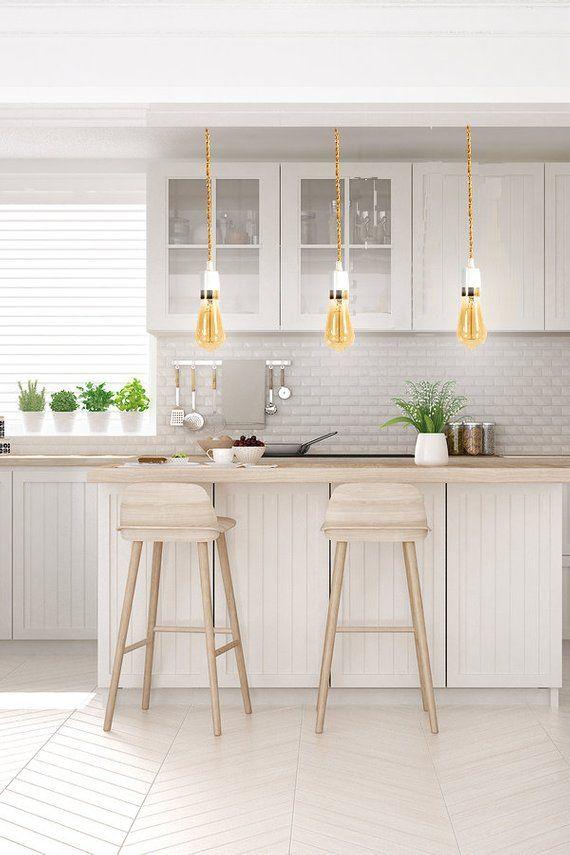 Single White Pendant Light W Gold Stripe Pendant Lighting