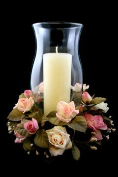 Superb Large Pillar Candle In Hurricane Lamp. Rose Ring Adds The Finishing Touch.