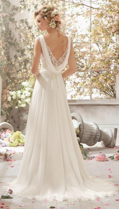 6898410cb6 Gorgeous A line V Neck Sweep Train Lace Chiffon Dress Detachable Back Cowl.  Unique backless wedding dresses ...