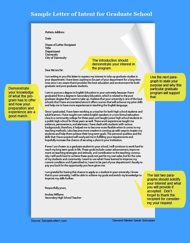 Example of a letter of intent pinterest school college and how to write a letter of intent for graduate school ehow spiritdancerdesigns Choice Image