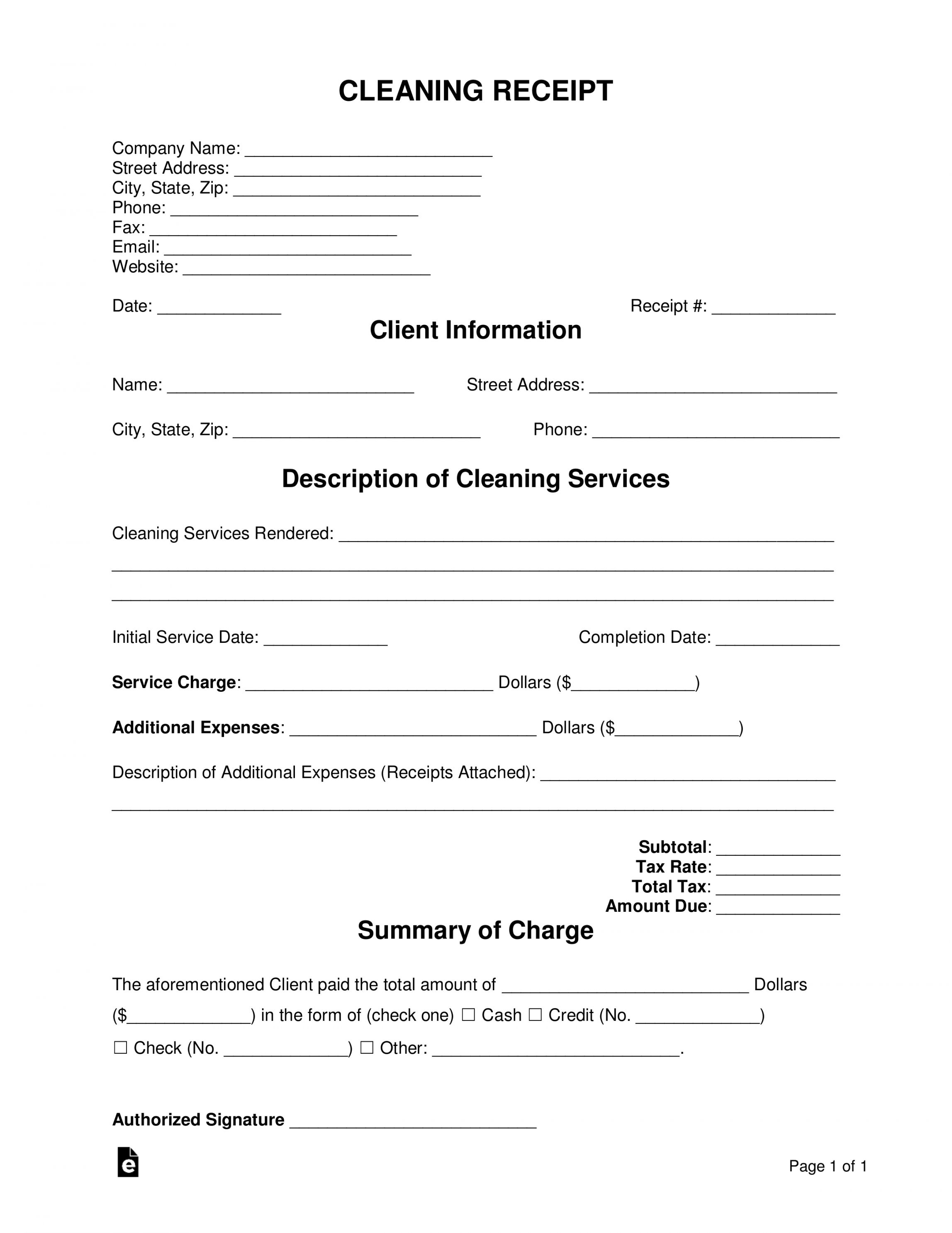Get our free house cleaning receipt template in 2020