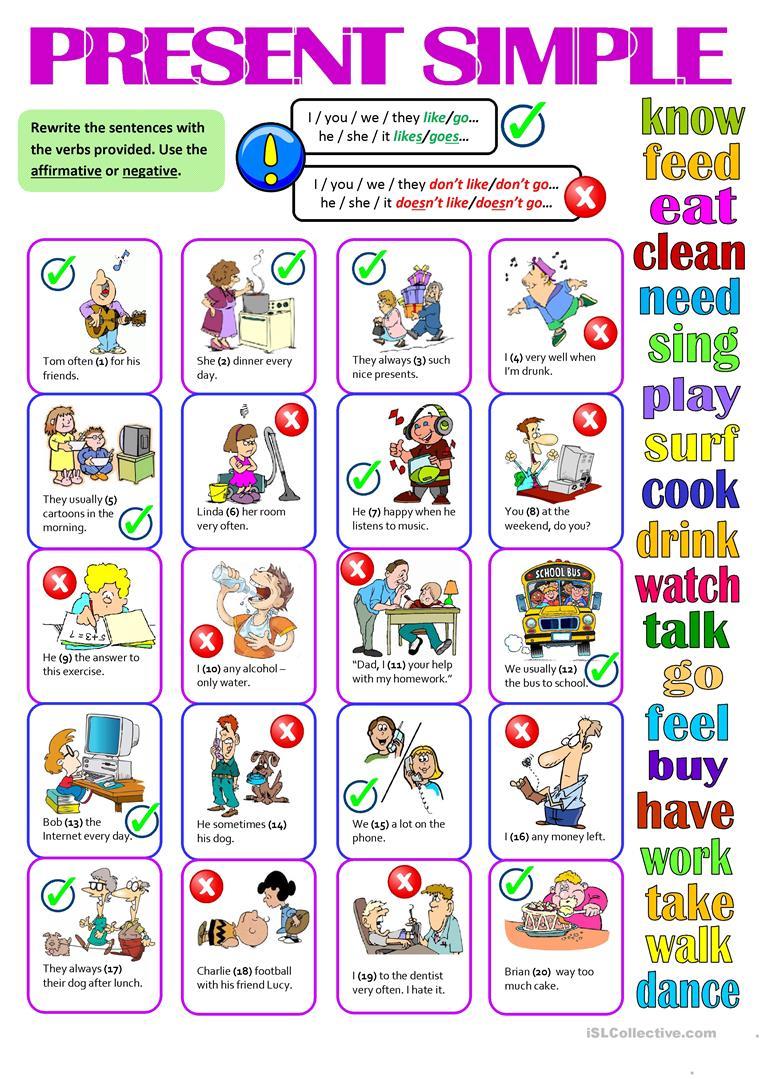 Present Simple Affirmative Negative English Esl Worksheets English Language Teaching Simple Present Tense English Grammar Worksheets [ 1079 x 763 Pixel ]