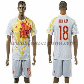 Camisetas De Futbol Barata España 2016 Jordi Alba 18 Segunda Equipación