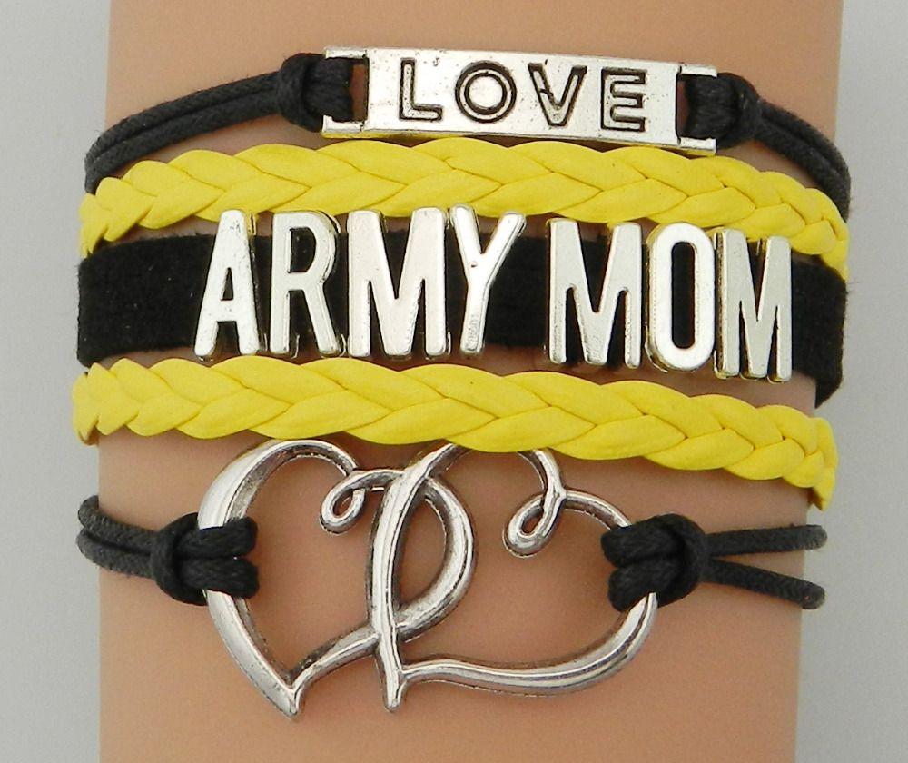 Army Mom Leather Cord Bracelet Army Jewelry Army Leather Bracelet Army Wife Army Army Wife  Leather Cord Bracelet Army  Cord Bracelet