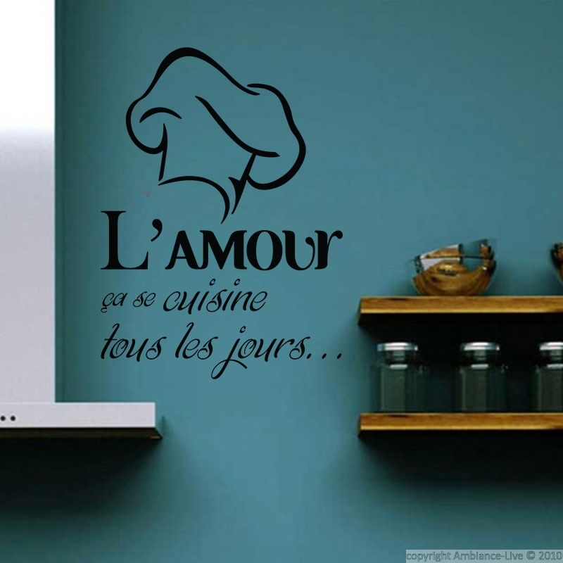 sticker l amour a se cuisine kitchen quotes and quote wall. Black Bedroom Furniture Sets. Home Design Ideas