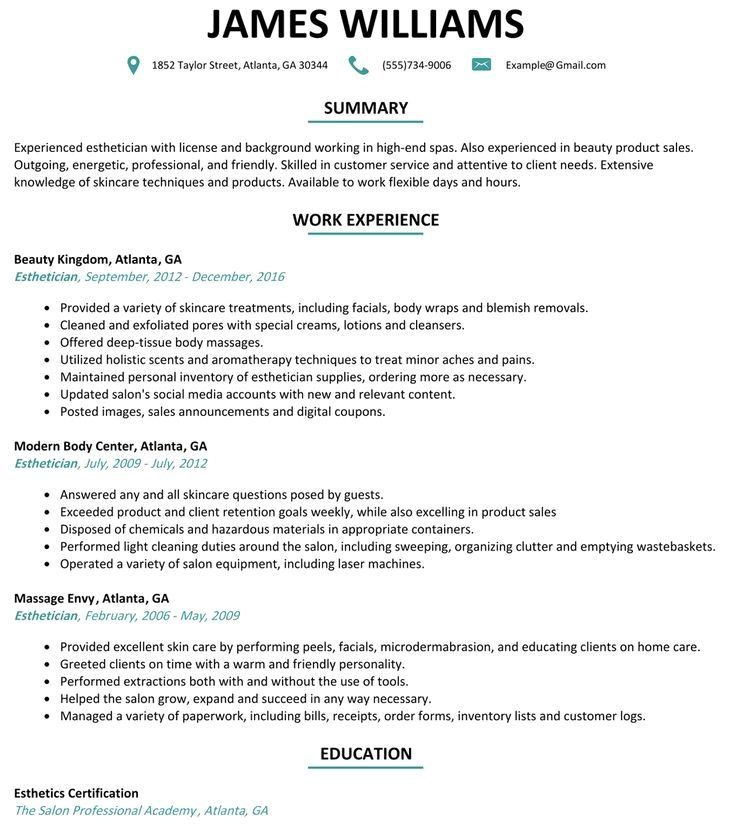 Best esthetician resume example livecareer esthetician