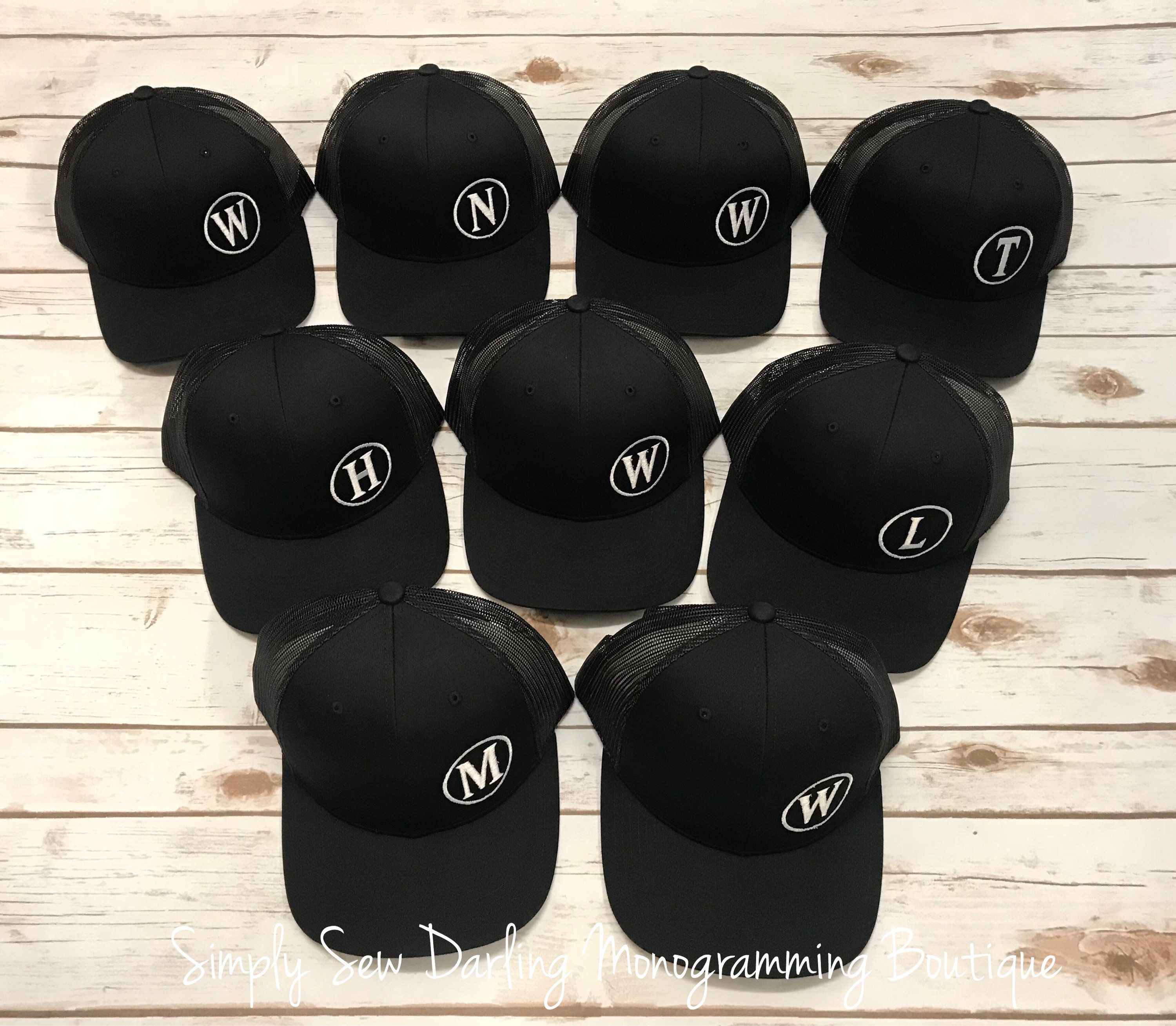 410260d53 Personalized Embroidered Monogrammed Off-Set Groom Groomsmen Trucker ...