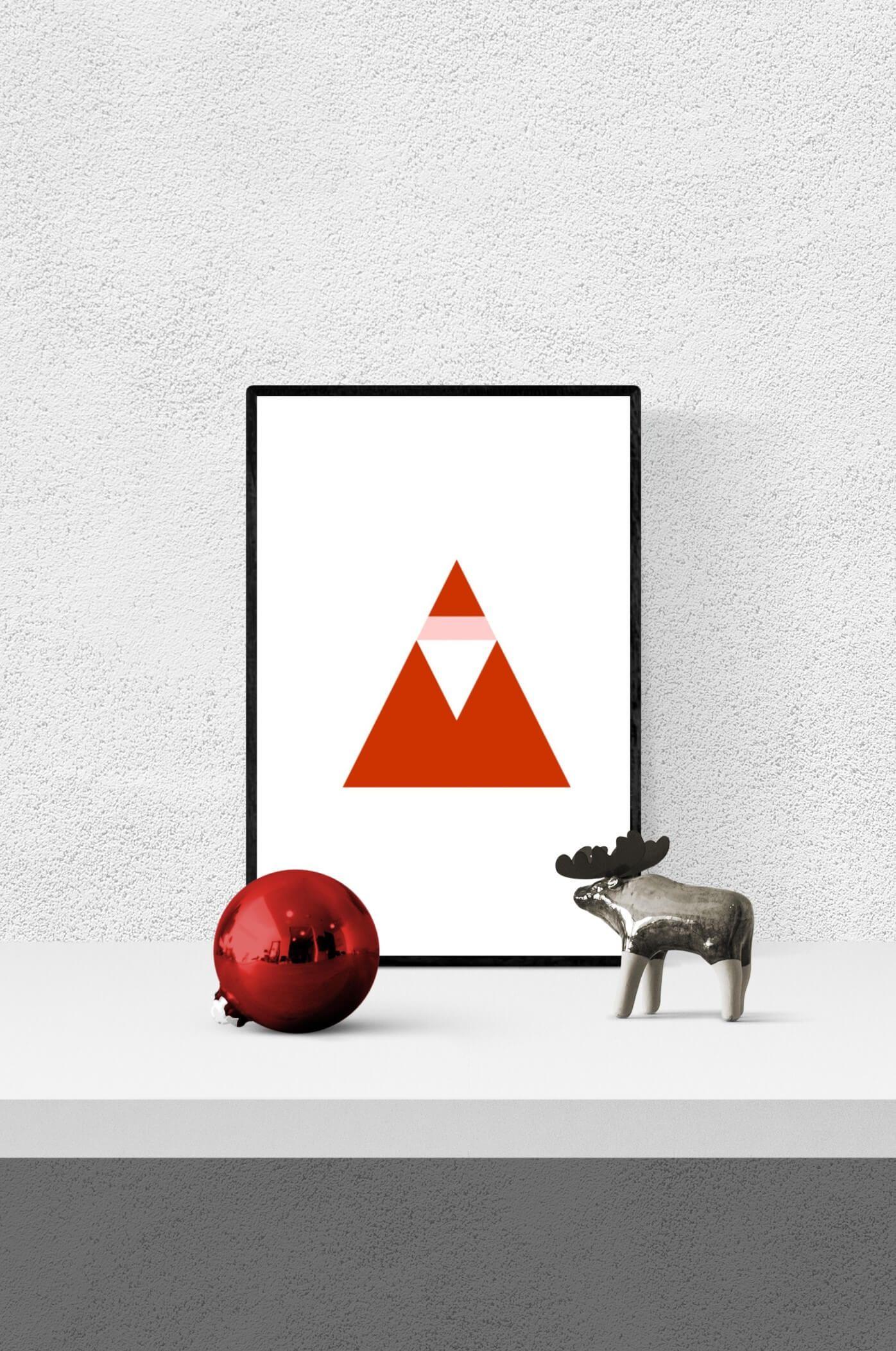 Weihnachtsgrafik Weihnachtsmann Dreieck Rot zeitlos. in. form. CULTFORM