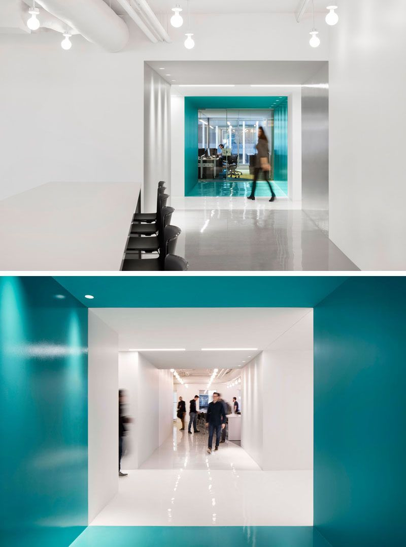 this office interior used color to create distinct spaces on blue office color id=50265