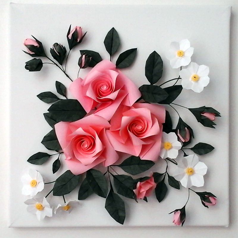 buy 3d origami canvas wall art origami rose ОРИГАМИ