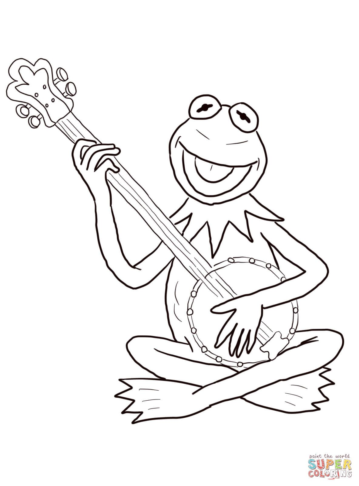 kermit the frog plays guitar coloring pagejpg 11841600