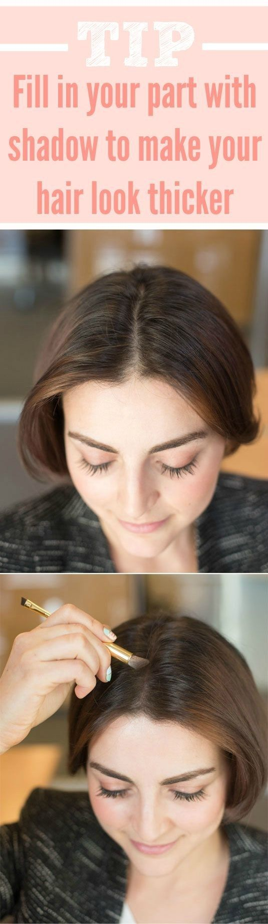Get a little help from eyeshadow to fake thicker hair thicker