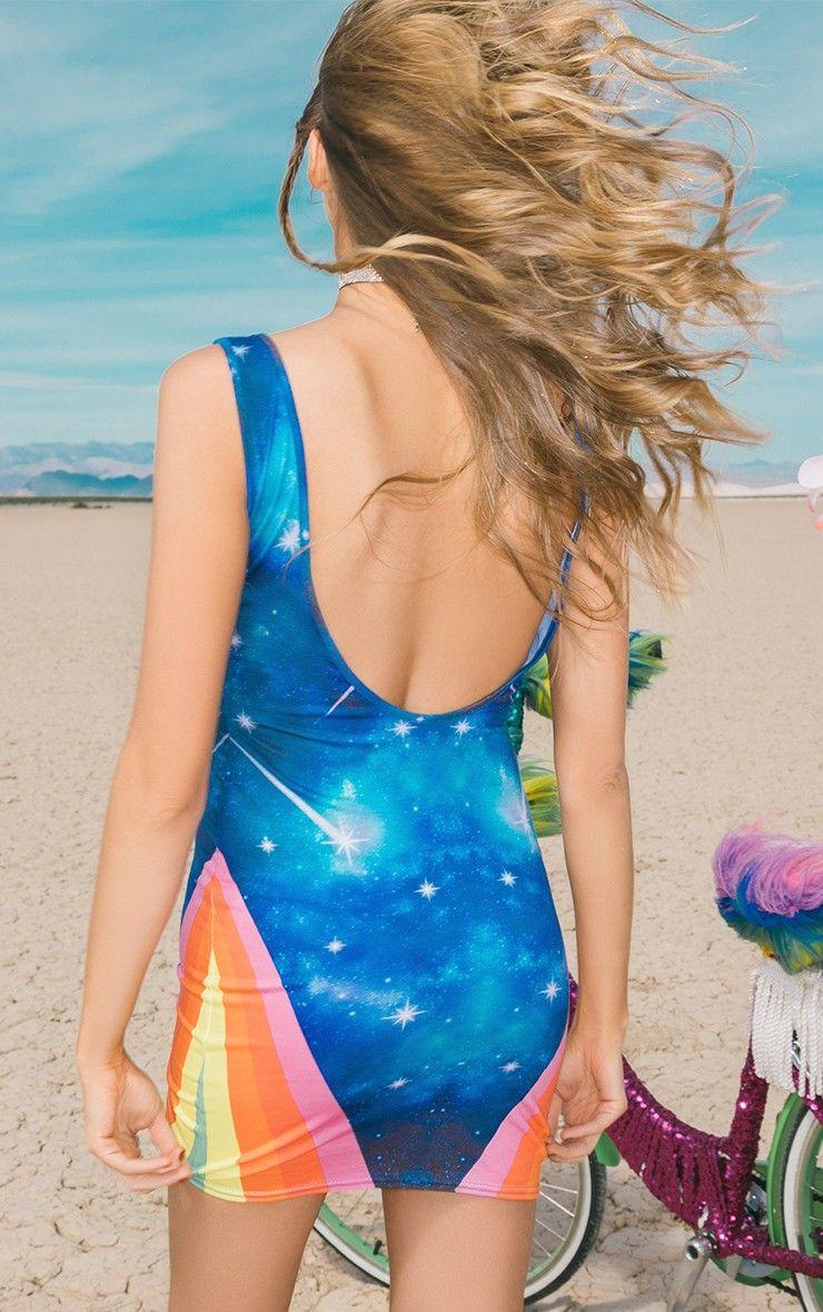 Kallinda Blue Rainbow Scoop Back Bodycon Dress Bodycon Dress Bodycon Dresses [ 1180 x 740 Pixel ]