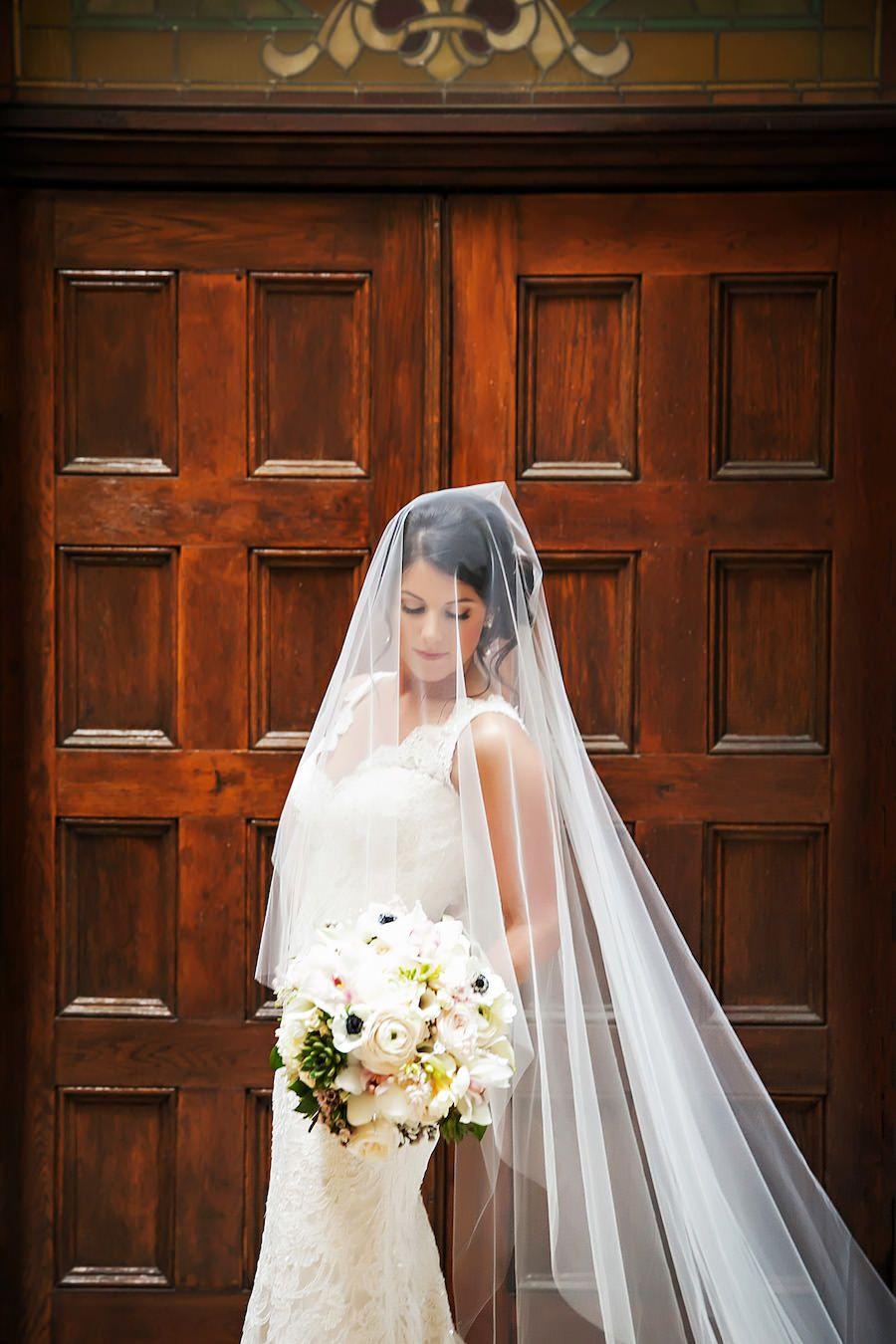 Bridal Wedding Portrait In Ivory Lace Romona Keveza Dress