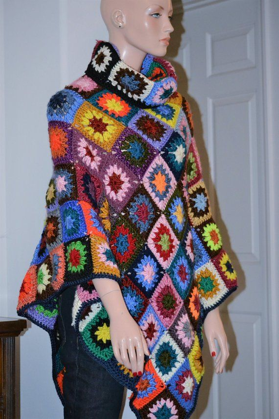 Granny Square Boho Poncho/ Colorful winter poncho/ One size fits most
