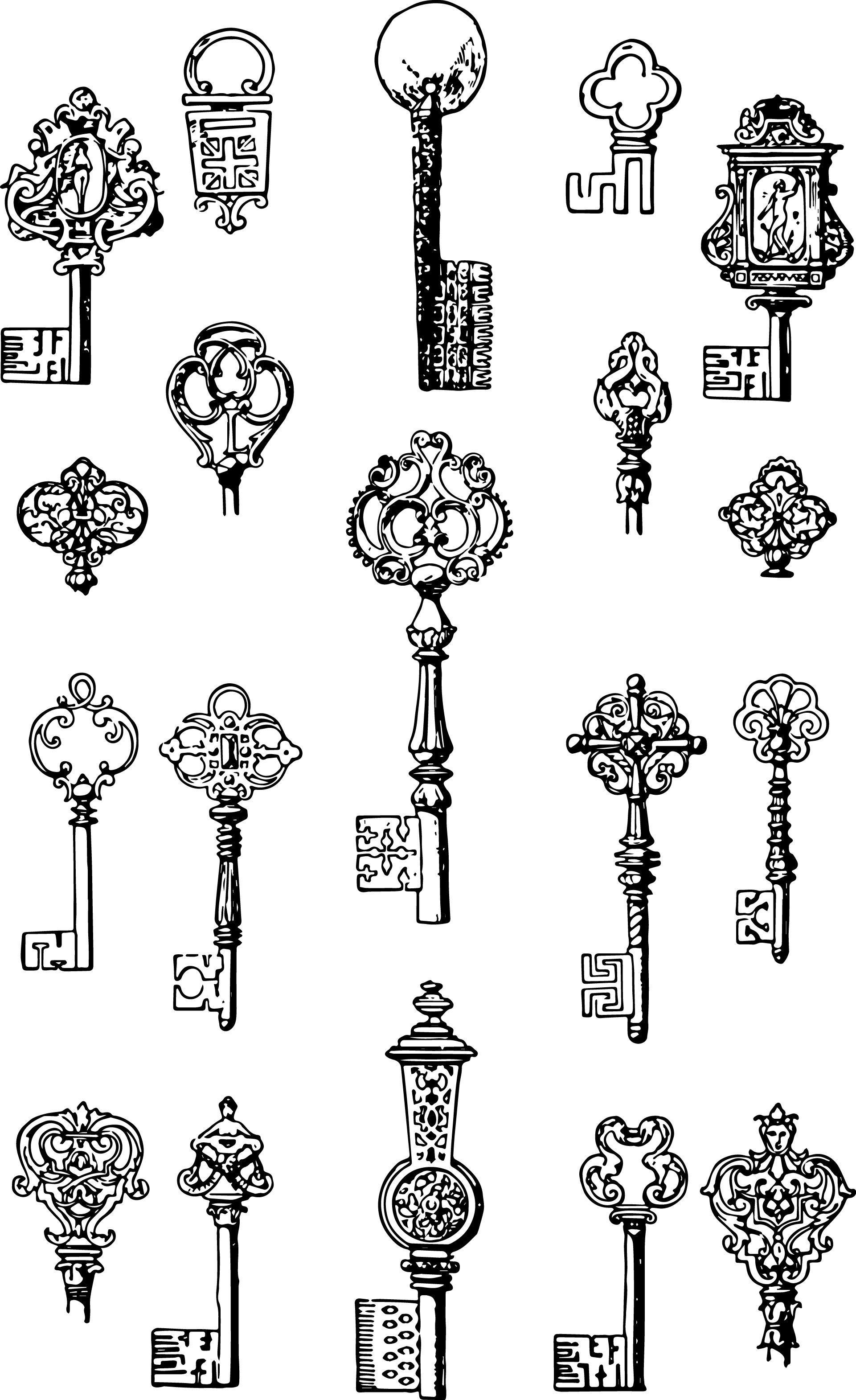 Steampunk Clipart Ornate Key 834 Clip Art Vintage Vintage Keys