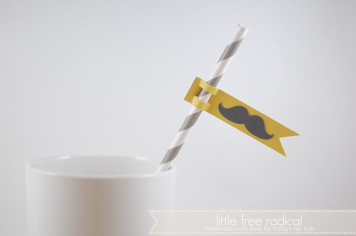 Paper Mustache Flags & Retro Party Straws Kit - Makes 12 Straws - You Choose the Color. $9.50, via Etsy.