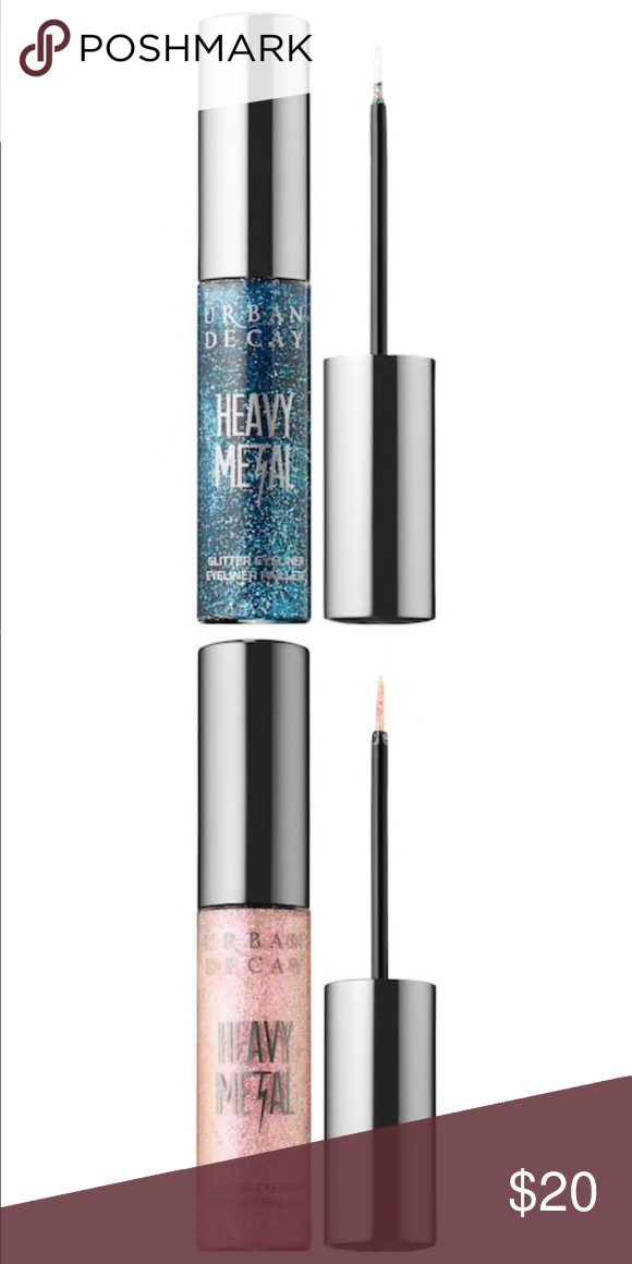 Urban Decay Heavy Metal Glitter Eyeliner. This water-based, buildable liner contains super-fine glitter that dries quickly and stays put.  Because the glitter is suspended in a gel, it won't separate in the bottle.  Wear Heavy Metal alone, apply it over any Eyeshadow or layer two shades together for a more intense glam-rock effect. The precise, thin-tipped brush makes it easy to create fine, glittery lines. Choose either Gamma Ray (blue) or Grind (light pink).  Standard 0.25 fl oz. NIB. Never #glittereyeliner