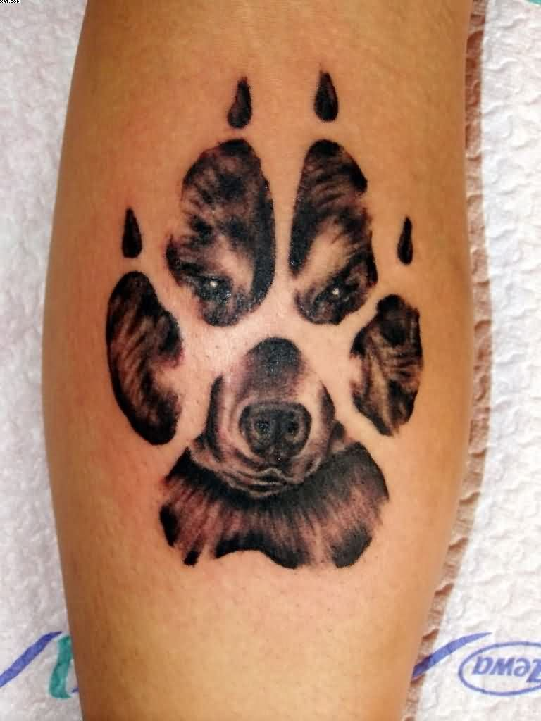 Dog Face In Paw Print Tattoo Design For Leg Dog Tattoos Pawprint Tattoo Dog Paw Tattoo