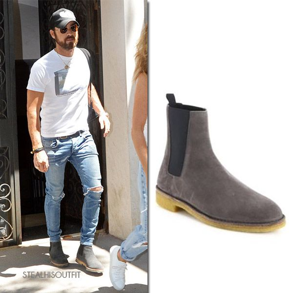 Justin theroux, Grey suede chelsea boots