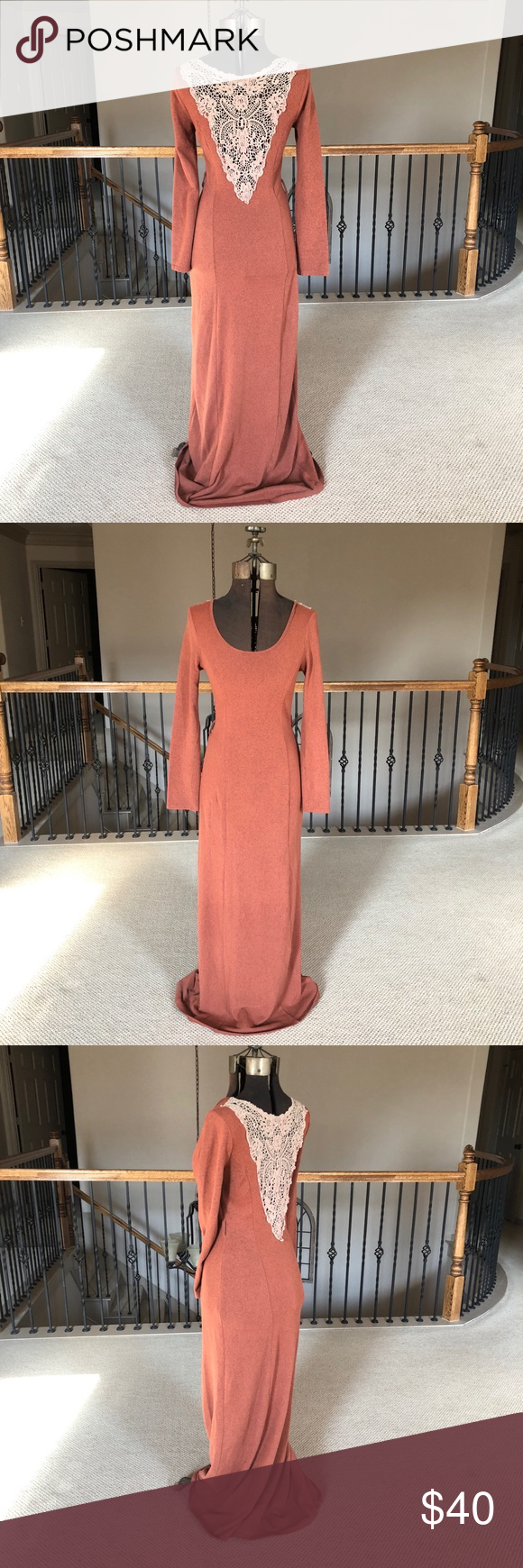 Altarud state long sleeve burnt orange maxi dress stretchy and form