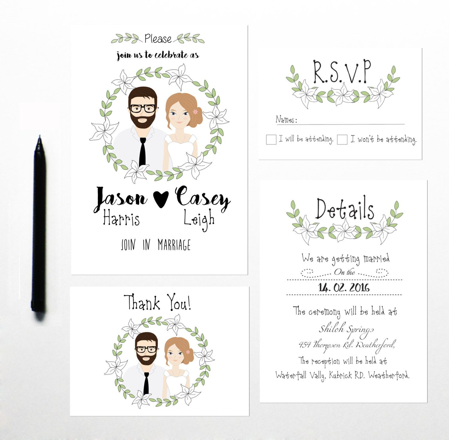 Custom Illustrated Wedding Invitation, Drawing on invite ...