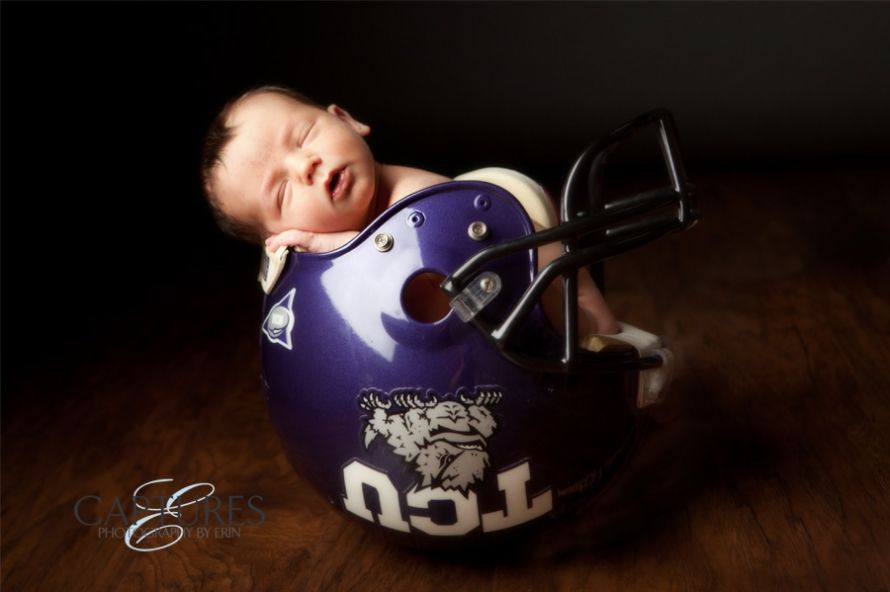 Football helmet newborn photos