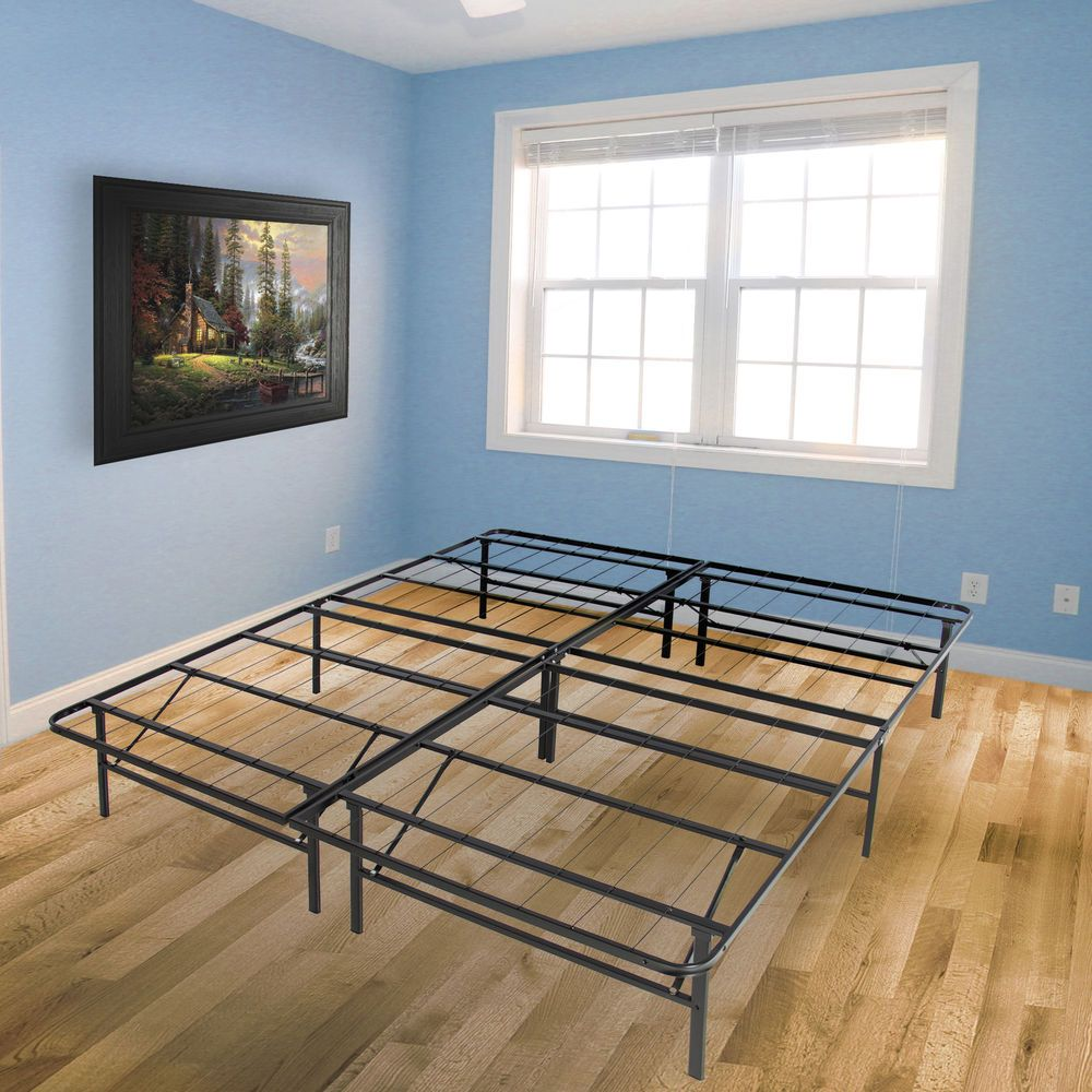 Queen Metal Platform Bed Frame Foldable Mattress