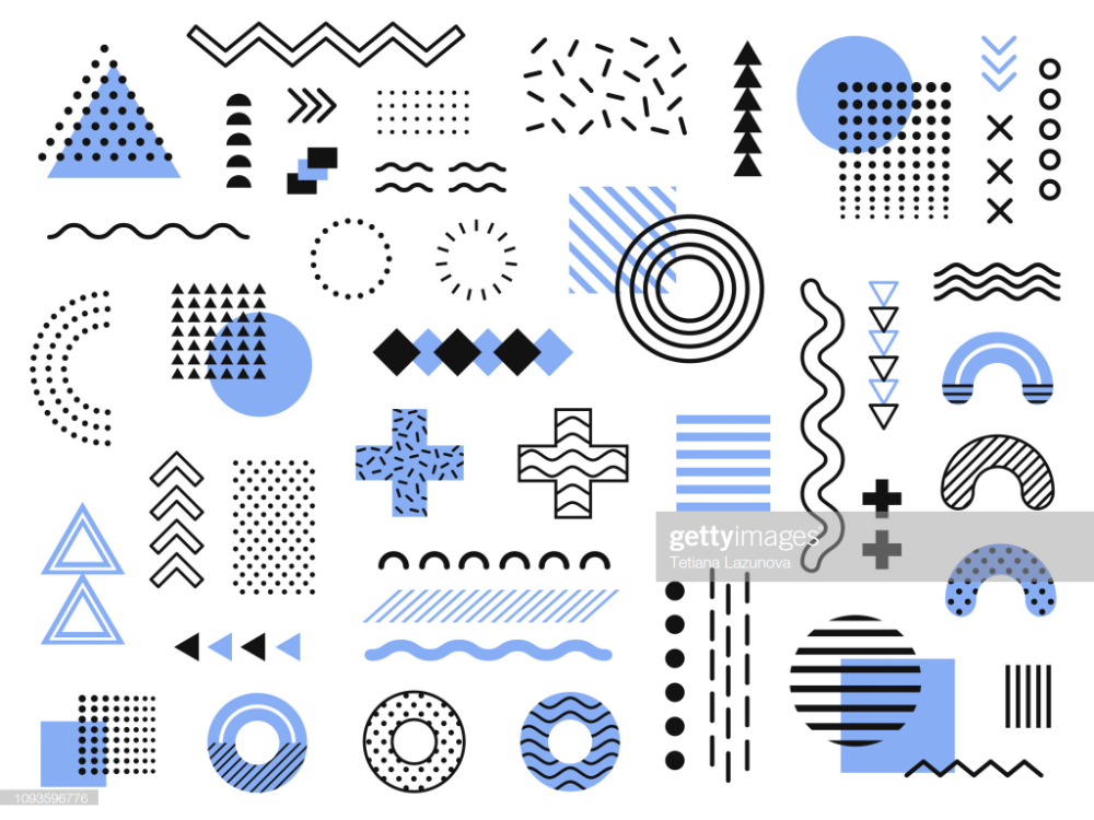 Memphis design elements. Retro funky graphic, 90s trends designs and...