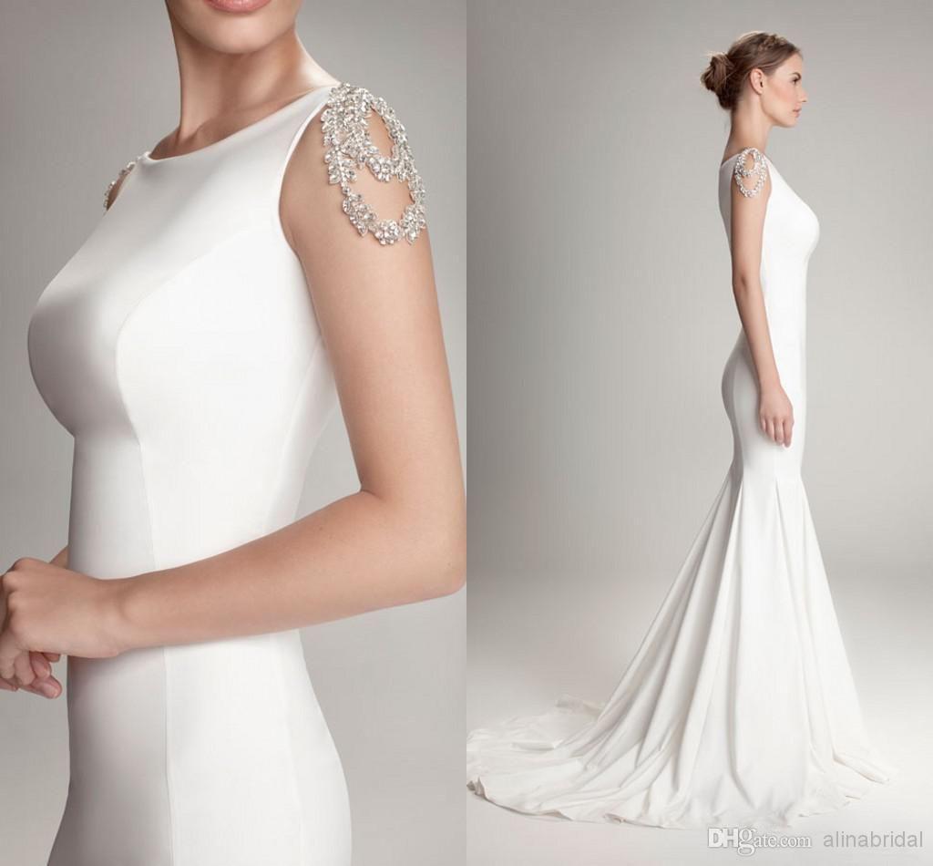 sexy beach mermaid wedding dresses bateau neckline jewelry cap