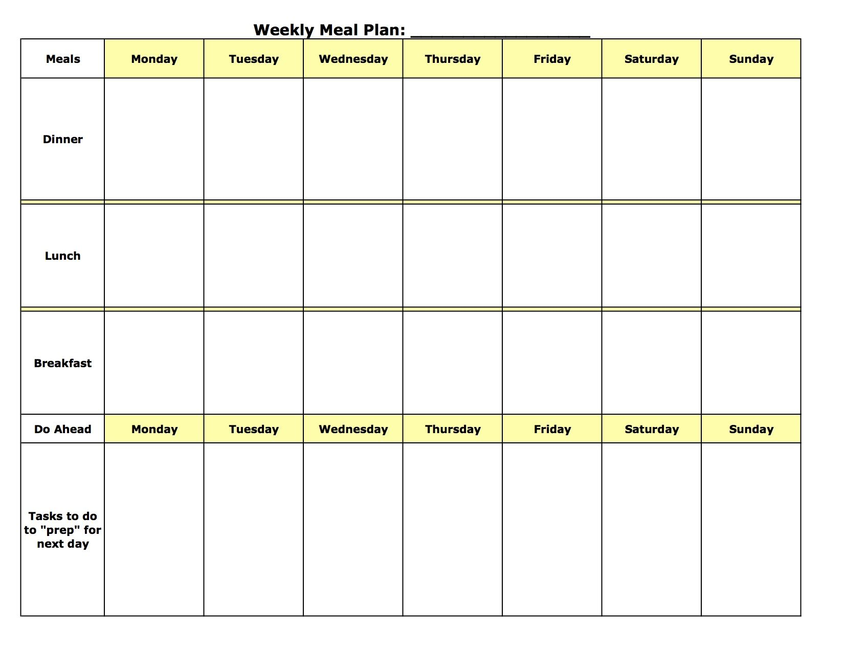 Oops Homestead Weekly Meal Planner Template Meal Planning