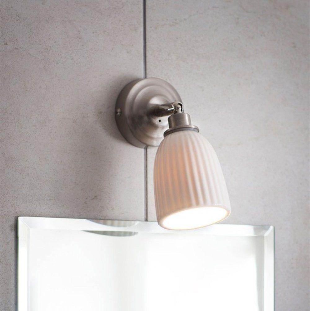 Alma bathroom wall light satin nickel in loft conversion